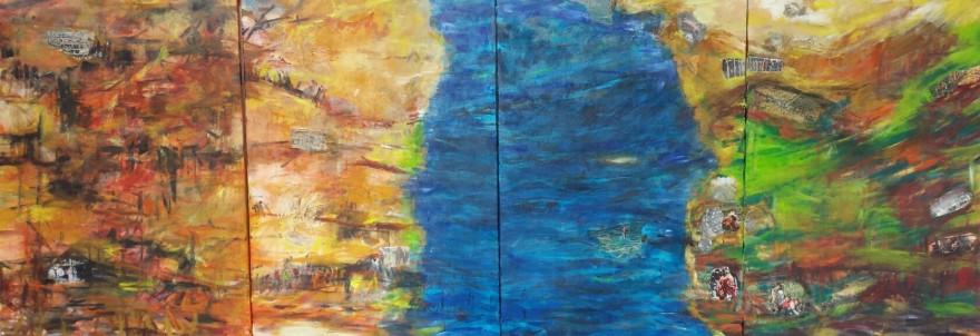 Flucht-Wege, 2016 Acryl/Collage auf Leinwand 280 x 115 cm (4-teilig)